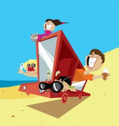 Family on holiday vector