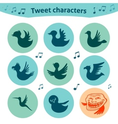 Round internet icons of tweet birds social media vector