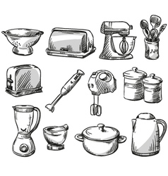 Set of kitchen appliance vector