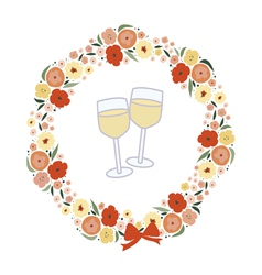 Festive wreath with two champagne glasses vector