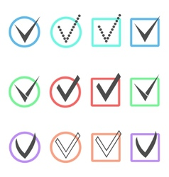 Set of different ticks in colored boxes and vector