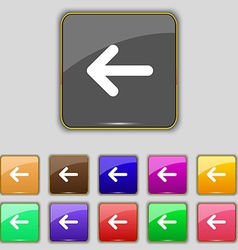 Arrow left way out icon sign set with eleven vector