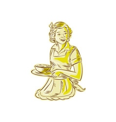 Homemaker serving bowl of food vintage etching vector