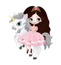 Beautiful princess with pink dress riding horse vector