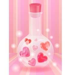 Bottle of hearts vector