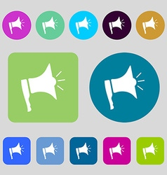 Megaphone soon icon loudspeaker symbol 12 colored vector