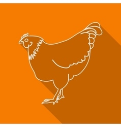 Icon contour chicken flat style long shadows vector