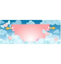 Scroll banner in the clouds vector