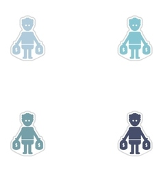 Set of paper stickers on white background man bags vector