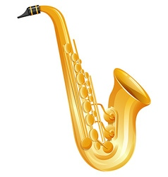 Golden saxophone on white background vector