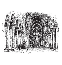 Cathedral of monreale - interior view vintage vector