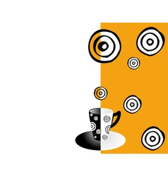 coffee card orange black and white vector image vector image