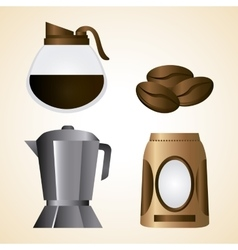 Coffee kettle pot bag bean shop icon vector