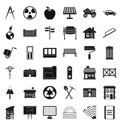 Construction industry icons set simple style vector
