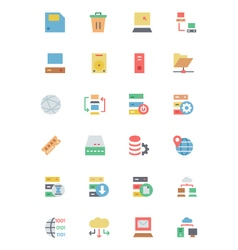 Database and server colored icons 2 vector