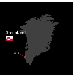 Detailed map of Greenland and capital city Nuuk vector image vector image