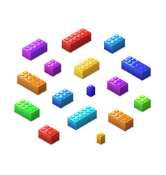 Different colorful lego bricks in isometric view vector