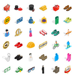 Fashion clothes icons set isometric style vector