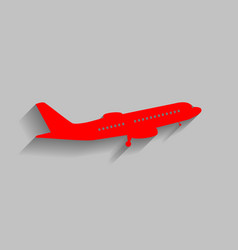 Flying plane sign side view red icon vector