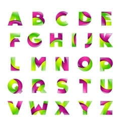 Fun english alphabet green and pink color letters vector