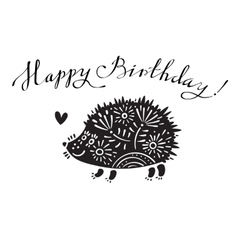Funny with hedgehog and vector image