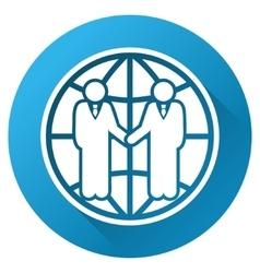 Global partnership gradient round icon vector