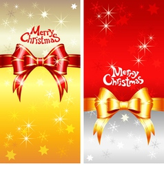 greeting card with Christmas ribbons bow vector image