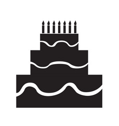 Isolated birthday cake silhouette vector