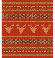 Knitted texture on red background with deers vector