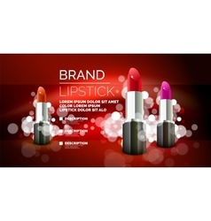 Lipstick cosmetic advertising background vector image