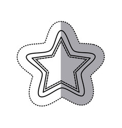 Monochrome contour sticker of star shape frame vector
