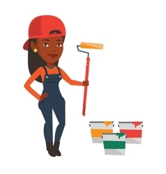 Painter holding paint roller vector image