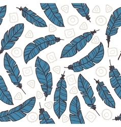 Pattern with feathers and abstract objects vector