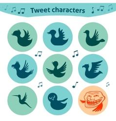 Round internet icons of tweet birds social media vector image vector image