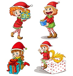Santa elves with gifts vector image vector image