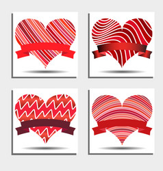 set of red hearts with ribbons and shadows vector image vector image