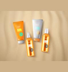 Sun protection cosmetics vector