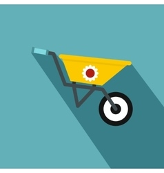 Yellow wheelbarrow icon flat style vector