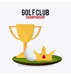 Ball crown and trophy cup icon golf sport design vector