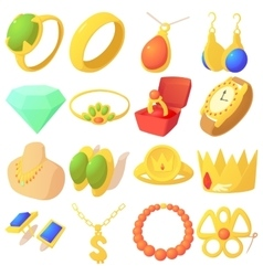 Jewelry items icons set cartoon style vector image