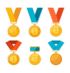 Colorful collection of golden medals with vector