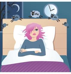 Insomniac girl vector