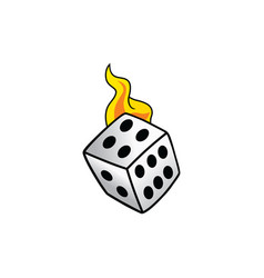 Flaming on fire burning white dice risk taker vector