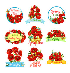 Spring flower bouquet isolated icon set vector