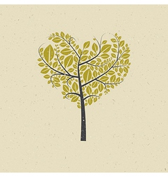 Heart shaped tree on recycled paper vector