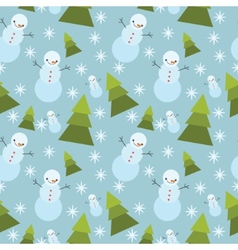 Winter tree ans snowman seamless pattern vector