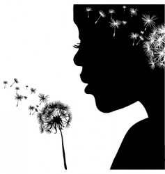 Woman portrait with dandelion vector