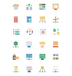 Database and server colored icons 3 vector