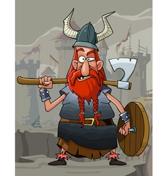 Cartoon funny man viking with a red beard vector