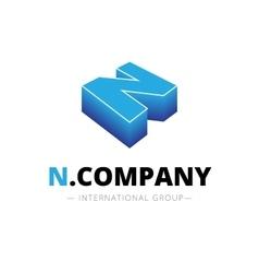 Isometric gradient n letter logo company vector